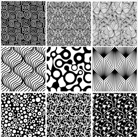 15 black and white floral seamless pattern set download
