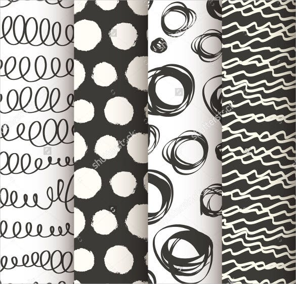 set of 4 black and white doodle seamless pattern download