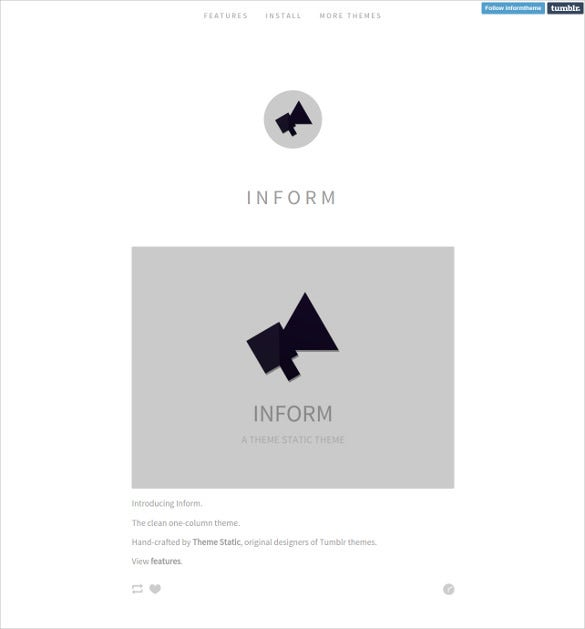 free inform one column tumblr theme1