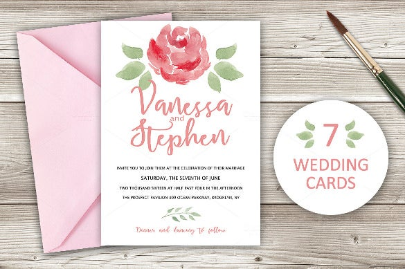 water colors wedding card download