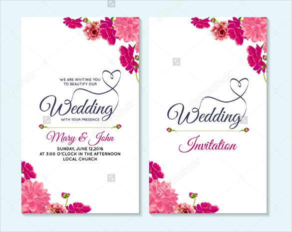 Wedding Card Templates  Free Printable Sample Example