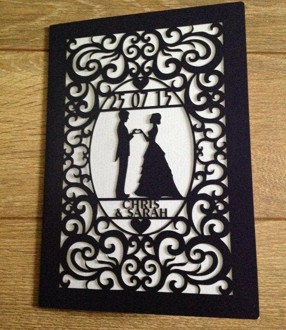 laser cut wedding card design download