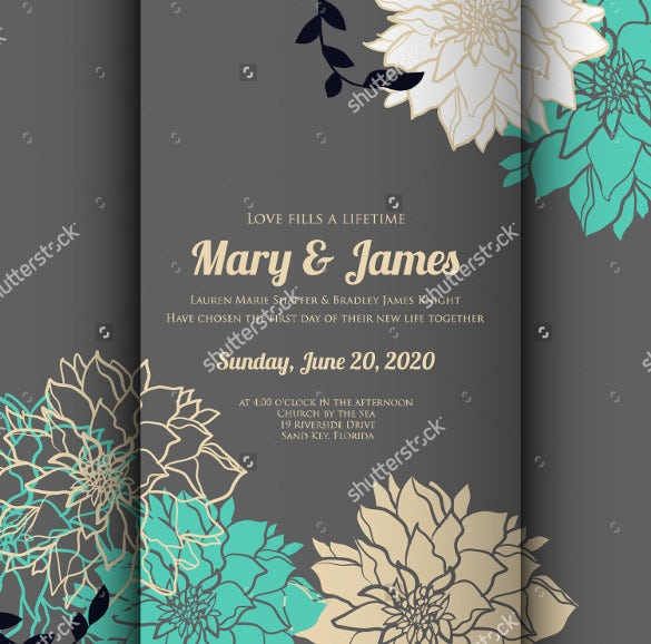Wedding Card Templates  Free Printable Sample Example Format