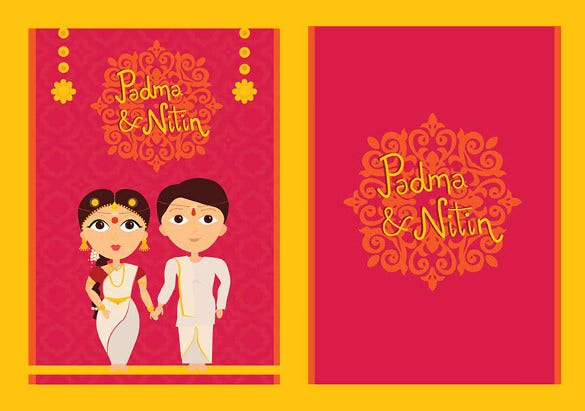 traditional wedding card template for download