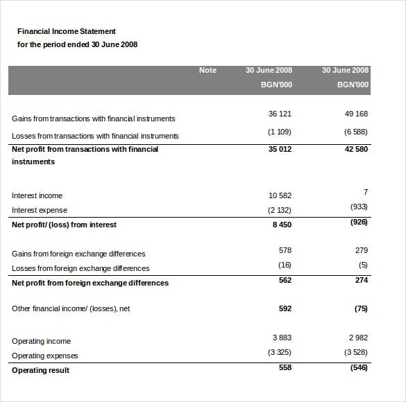 Financial Income Statement Template MS Word  Income Statement Template Word