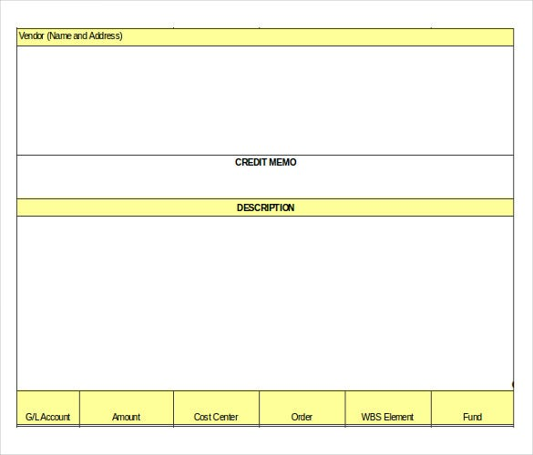 simple credit memo template excel format download1