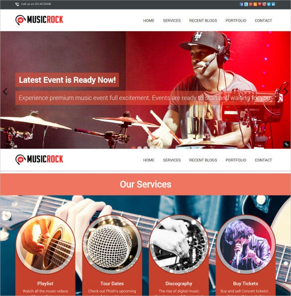 music band wordpress website template