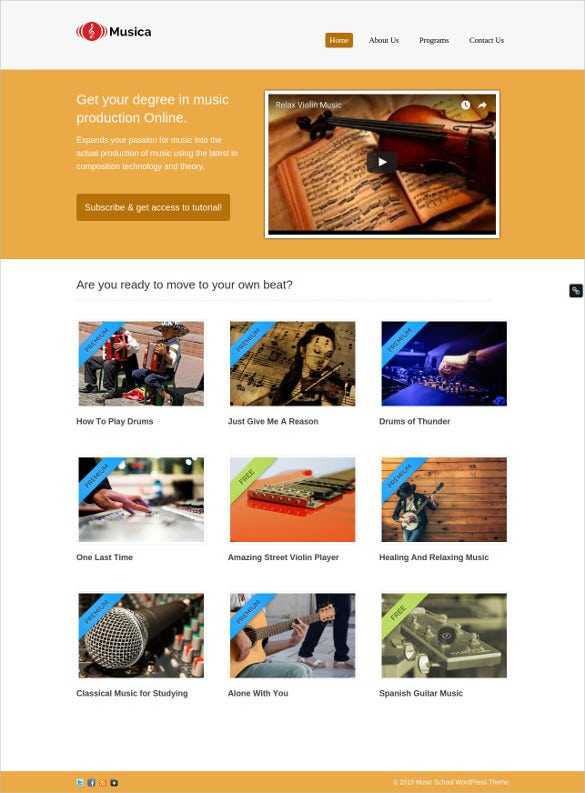 60 music website themes templates free premium templates music school wordpress website template 79 maxwellsz