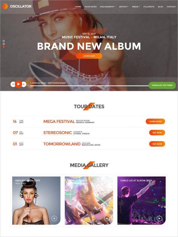 music event wordpress website template