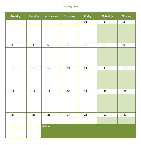 Monthly Calendar In Excel Format : Excel training schedule template free weekly