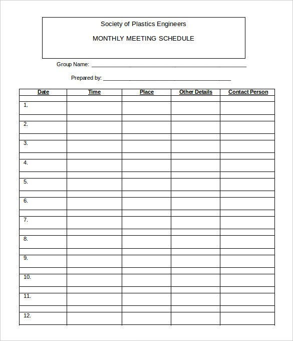 21 monthly work schedule templates pdf doc free for Monthly meeting schedule template