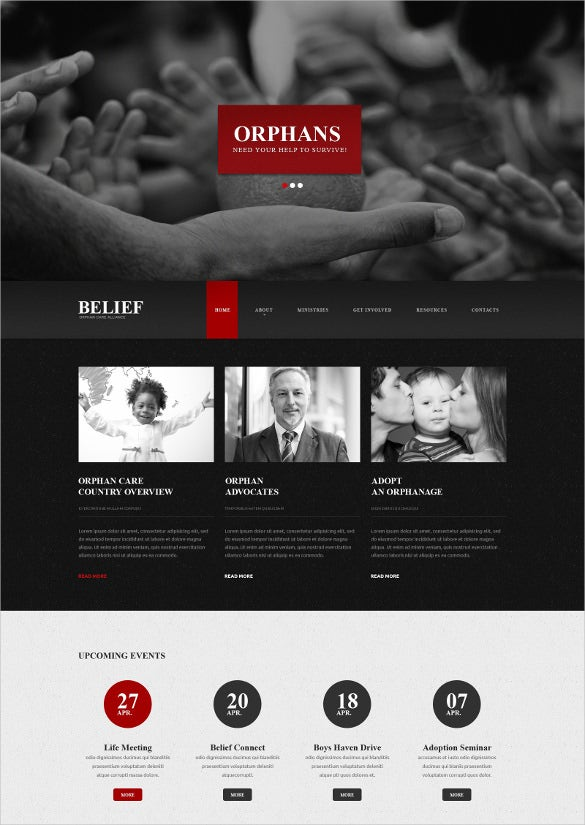 non profit charity responsive website template