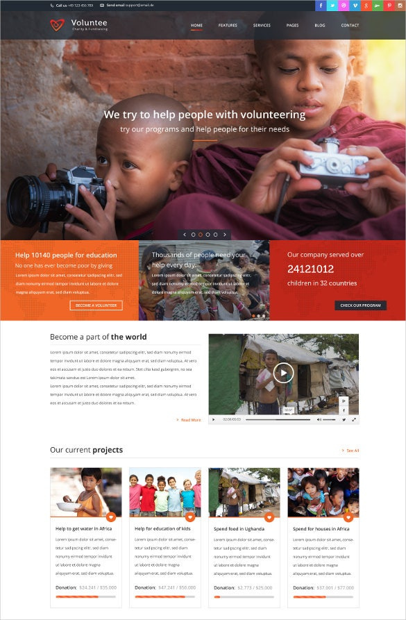 Non Profit Fundraising WordPress Website Theme $59  Ngo Templates