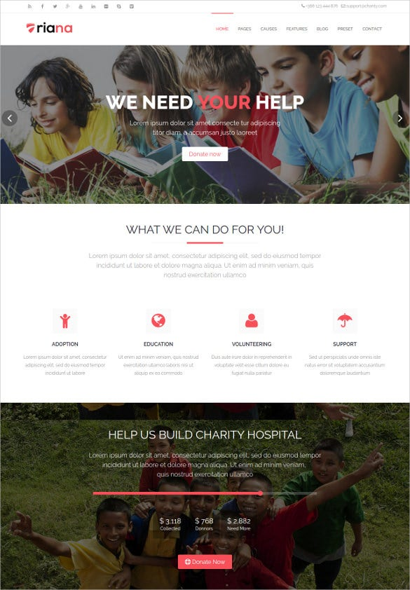 responsive no profit charity website theme