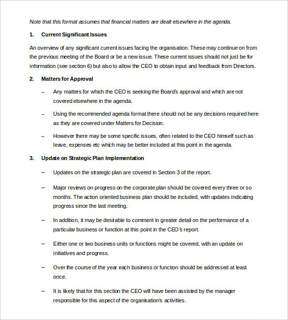 ceo board report template word format download