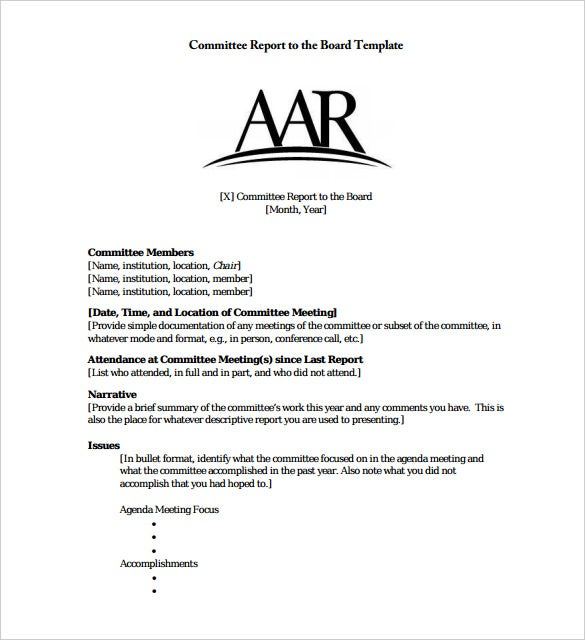 committee report to the board template pdf format download