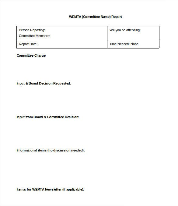 blank board committee report template word format sample