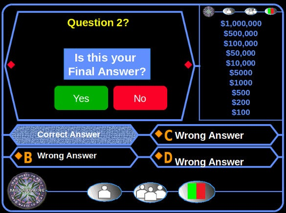 who wants to be a millionaire blank game template for free