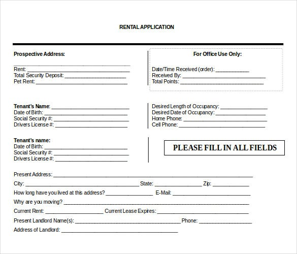 renters lease application