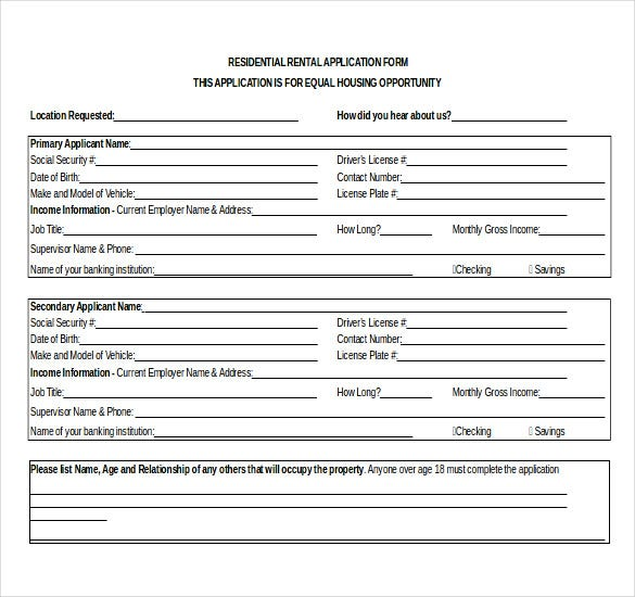 residential-rental-application-template Job Application Google Form on blank generic, sonic printable, part time, big lots, free generic,