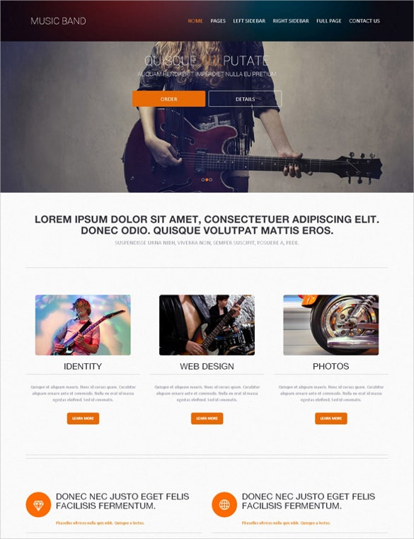 rock music band web template