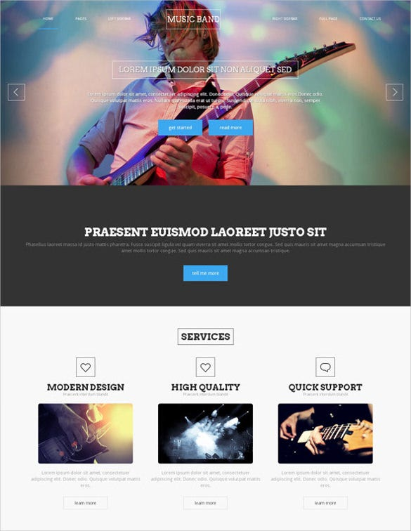 musical party band website template