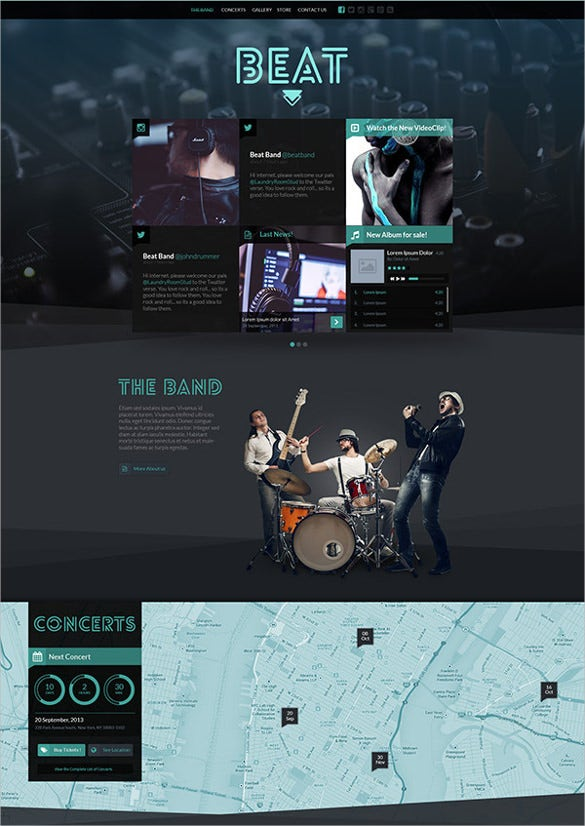 one page music band joomla website template