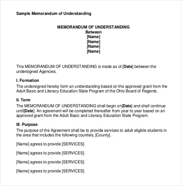 12 Memorandum of understanding Templates Free Sample Example – Sample Memorandum of Agreement