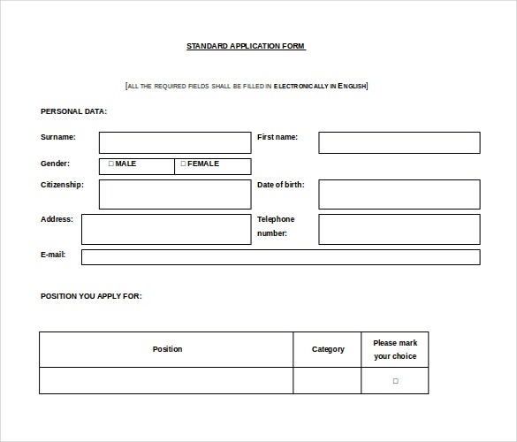 word format free download standard application form template