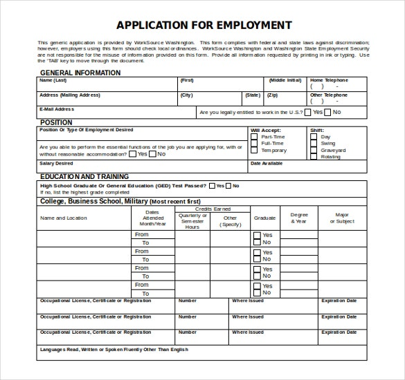 free download employment application ms word template