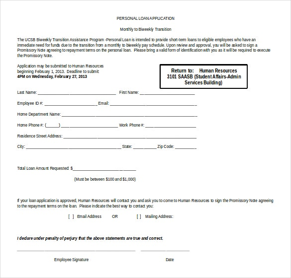 personal loan application form free word template