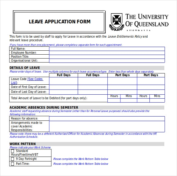 leave apllication form free download word format