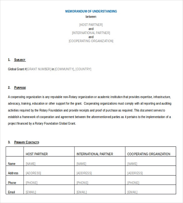 cooperating organization memorandum of understanding word document1