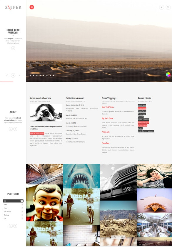 cool premium photography website template