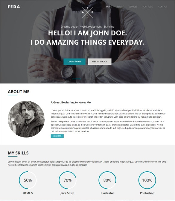 cool web designer one page website template