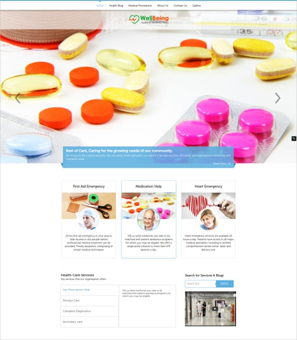 health care service wordpress website template