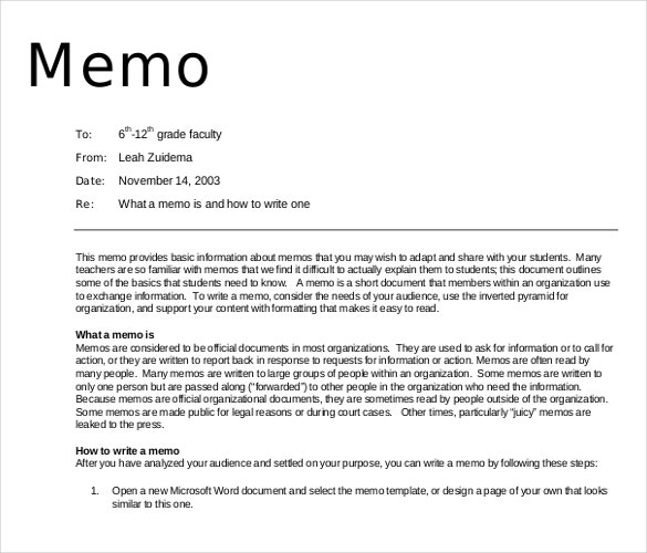 professional memo example format download