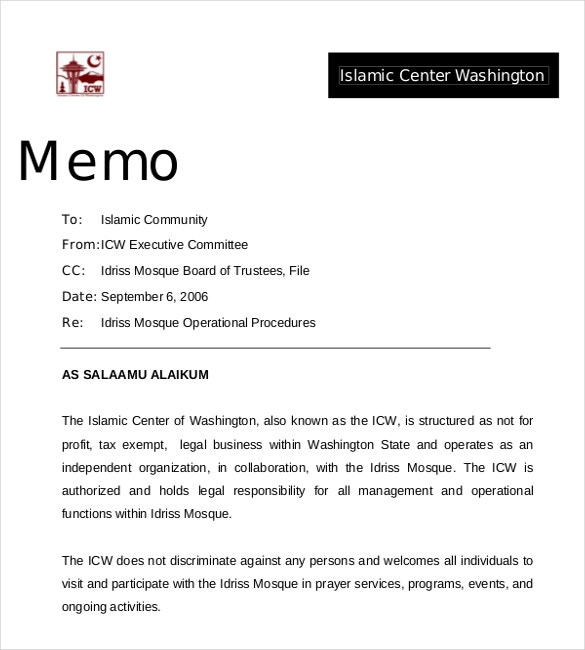 professional business memo example
