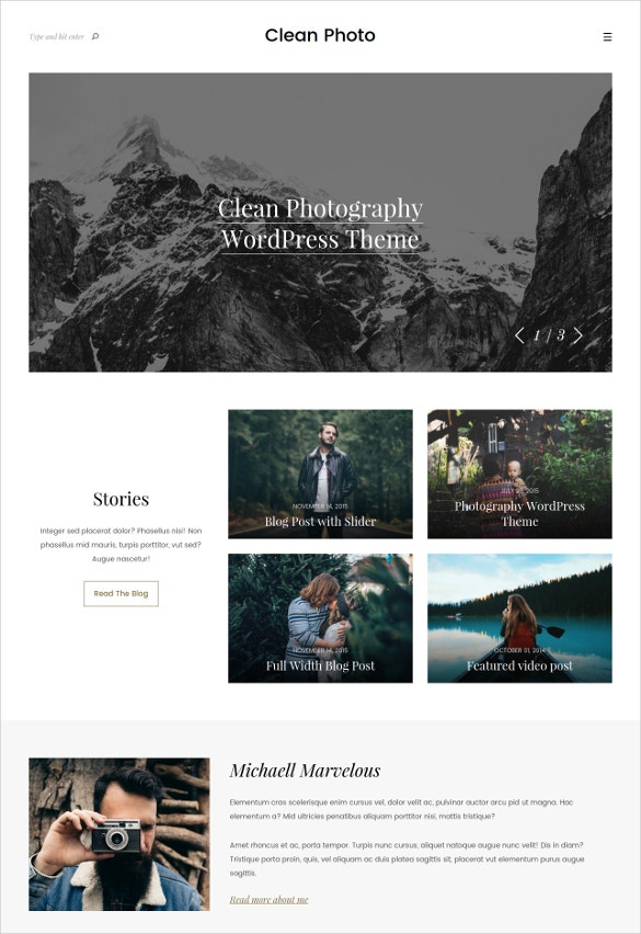 photography portfolio wordpress website theme