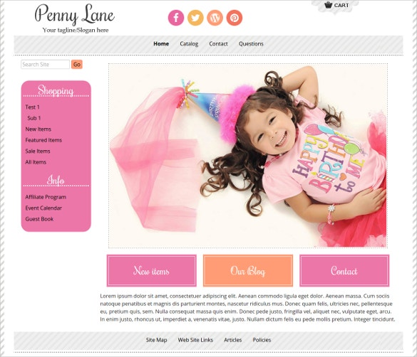 children boutique website template
