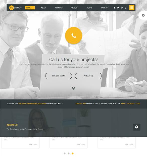 business scrolling website template
