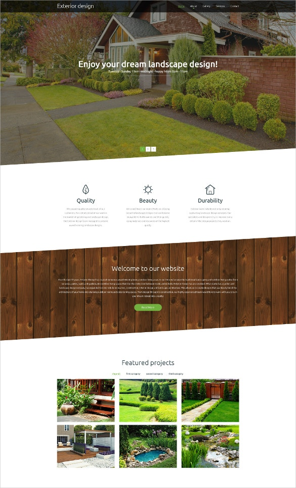 28 scrolling website themes templates free premium for Exterior design website templates
