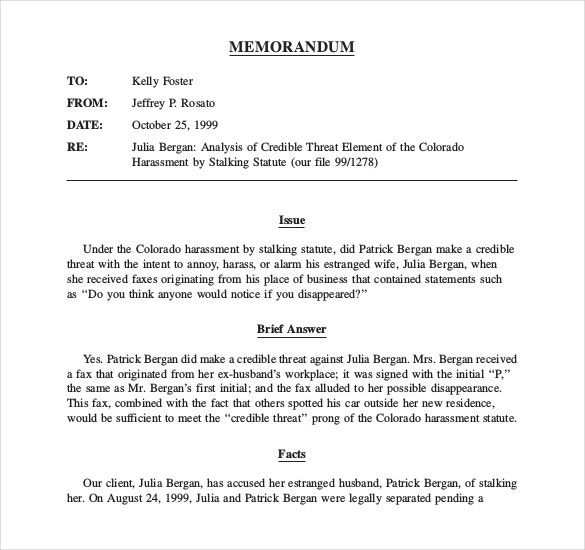 Legal Memo Templates  Free Sample Example Format Download