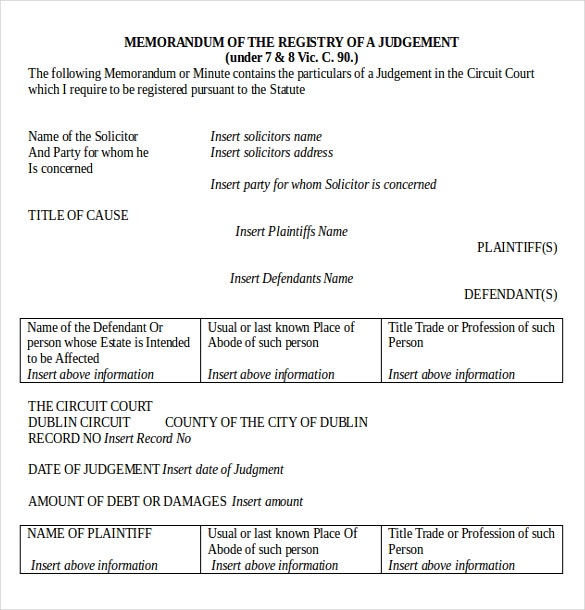 memo for registry of a legal judgement document download in ms word1
