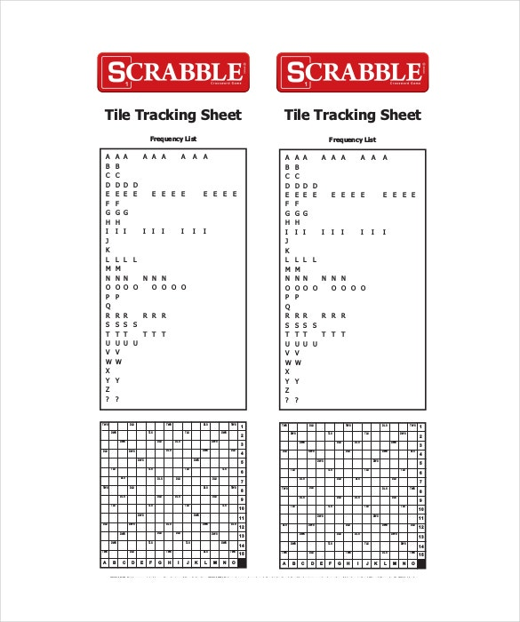 scrabble tile tracking sheet template free pdf format download