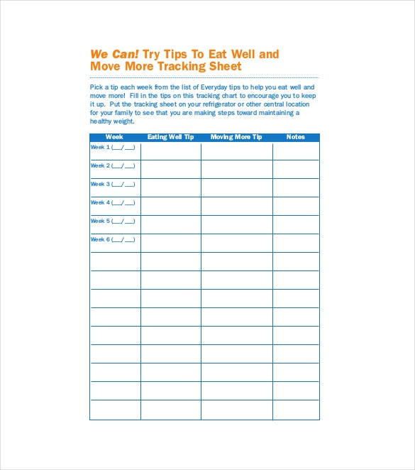 Tracking Sheet Templates  Free Sample Example Format Download
