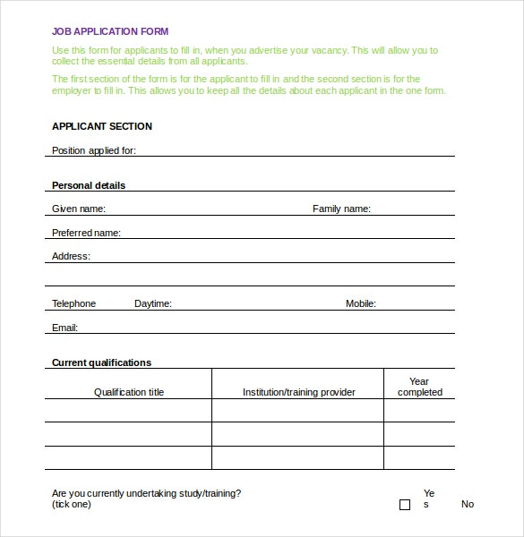 Employment Application Template 10 Free Word PDF Documents – Employee Application Forms