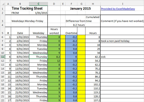 example time tracking sheet template download