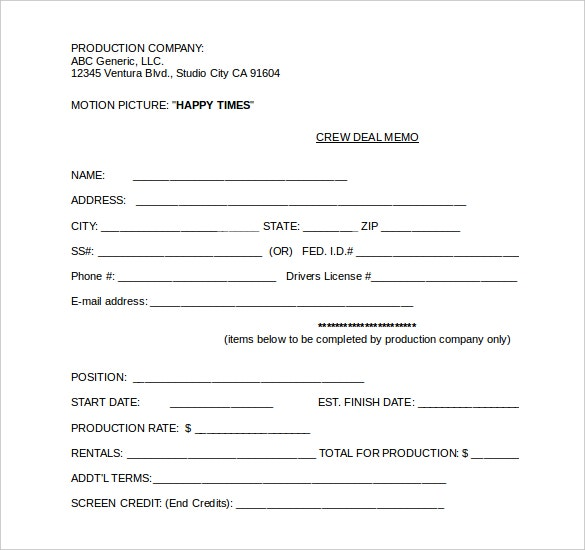 crew deal memo template document download2