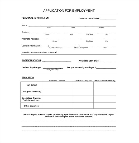 Employment Application Template 10 Free Word PDF Documents – Application for Employment